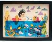 SALE - Swish I'm A Fish Original Framed Cut Paper