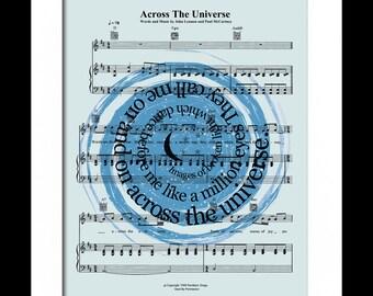 The Beatles Across The Universe Song Lyric Sheet Music Art Print, Beatles Music Art, Star Constellation Art Print, Spiral Song Lyric Art