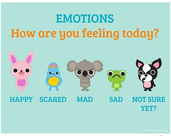 Emotion Scale Poster for home or school classroom use, digital download