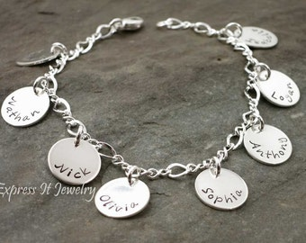Custom Listing Grandmothers Bracelet 8 Sterling Silver Personalized Discs
