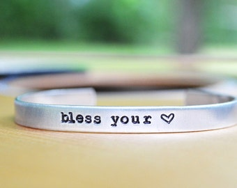 Bless Your Heart Bracelet - Country - Under 20 - Cuff - Southern - Rustic - Modern - Looks Like Silver - Stocking Stuffer