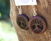 Wood Tree of Life Earrings- in Rosewood (HR1)- Wooden Jewelry, Boho Jewelry
