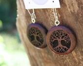 Wood Tree of Life Earrings- in Rosewood (HR1)- Wooden Jewelry, Boho Jewelry