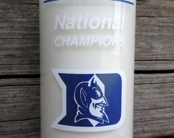 Duke Blue Devils Upcycled Vintage Coke Bottle Candle