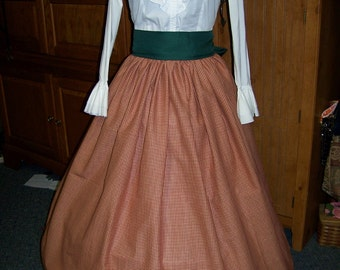 Christmas Caroler or Dickens costume Long string SKIRT and Sash one size fit all Red and beige check homespun cotton, with Sash Handmade