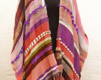 Handwoven Cotton Shawl , Womens Cotton Shawl OOAK , Purple Pink Poncho