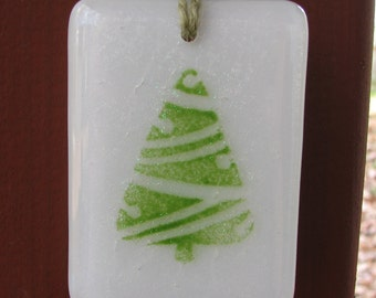 Green Christmas Tree Fused Glass Ornament