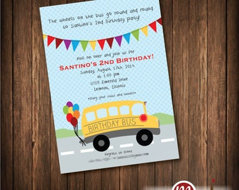 Bus Birthday Wheels on the Bus Invite