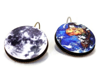 Earth and Moon Earrings - Dangle Earrings, Science, Planet, Solar System Jewelry - Gift Idea - Large