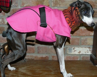"FREE US SHIPPING Hot Pink Dog Coat  Size 13"" (#00040)  Italian Greyhound, Chinese Crested, Min Pin, Bedlington Terrier, Small Dog"