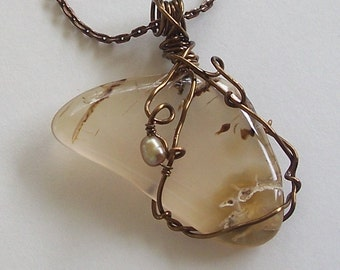 ON SALE Smooth Agate Pendant Wire Wrapped with Pearl