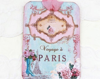 Tags, French Paris, Gift Hang, Bridal Shower, Party Favor, Eiffel Tower, Pink Roses, Vintage Boot, Tea High Party,Paris Decor, Handmade