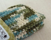 Cotton Dishcloths, Crocheted. Green, Teal, and Oatmeal.