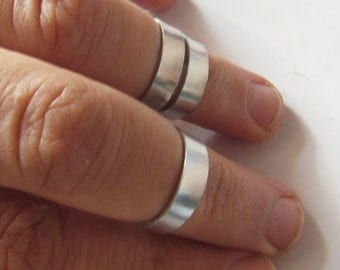 Silver Knuckle Rings, Set of 2, Wide Band Midi Ring Set, Silver Above Knuckle Rings, Stacking Ring Set, Choose Colors