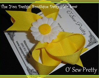 Boutique Hair Bow with Daisy, Boutique hair bow, Hair bows for girls
