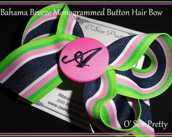 Bahama Breeze Monogrammed  Button Hair Bow