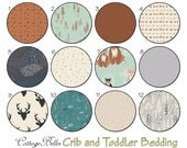 Crib Sheet or Toddler Bed Sheet [ Hello Bear Timber ] Cinnamon Teal Peach Mint Grey Deer Fox Bear Owl Arrows by Cottage Belles