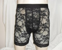 Men's Black Lace Trunks Boxers