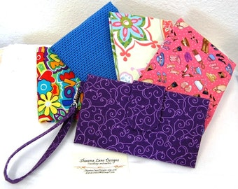 women's wallet, wristlet, cell phone accessory, small purse, girl's gifts, made to order you choose fabric, affordable bridesmaid gift