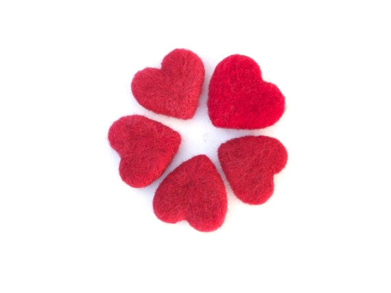 Needle Felted Hearts Christmas Gift 5 Red wool Love home decor eco friendly handmade decorating Stocking Stuffer