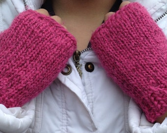 Texting Fingerless Mittens in Dark Pink - Ready To Ship - Great present for 25.00 and under