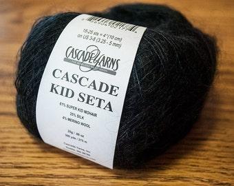 Cascade Kid Seta Fine Weight Mohair/Silk/Wool Blend Yarn - 300 yards - Black 33 - DISCONTINUED PRODUCT