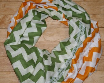 Ladies Chevron and lace Green Bay Packer Colored Infinity scarf