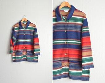 vintage '90s colorfully STRIPED FLEECE oversized BARN coat.