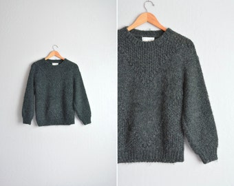 vintage '80s/'90s FOREST green chunky WOOL KNIT sweater. size m l.