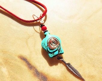 Turtle Pendant, Turquoise and Red, Native Style, Tribal Jewelry, Handcrafted Jewelry, Gemstone Jewelry, Copper Jewelry