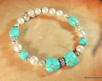 Turquoise and Pearl Bangle, Gemstone Jewelry, Handcrafted Jewelry, Butterfly Bracelet, Heart Jewelry, Native Style, Boho Jewelry