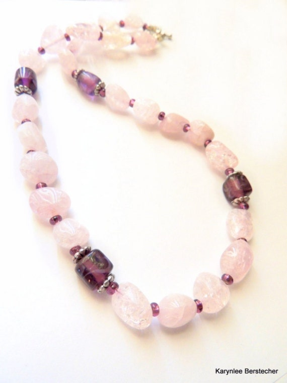 Lavender Crackle Quartz and Etched Amethyst Glass Necklace, Chunky Necklace, Purple Gemstone Necklace, Handcrafted