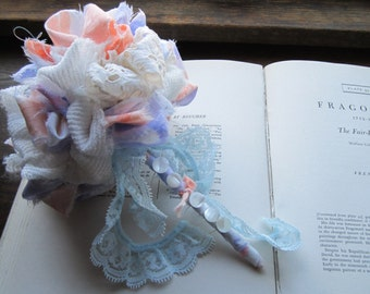 Bridal Bouquet *Vintage Fabric Pom Bouquet, Wedding Bouquets, Vintage Fabric Flowers