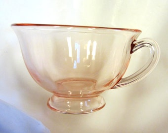 Flamingo Pink 18 Piece Depression Glass Cup, Saucer, Plate  Luncheon set Vintage 1930's Stunning