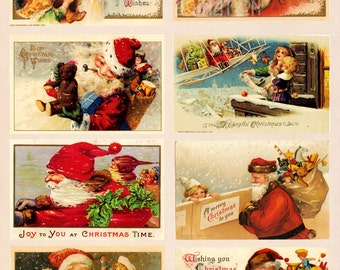 Vintage Santa digital collage sheet 3 from classic Christmas card designs, ATC/ACEO size, instant download
