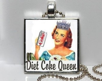 DIET COKE QUEEN Coca Cola Vintage Advertising Altered Art Pendant Charm Necklace
