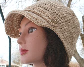 Tan Women's Hat Crochet Newsboy Cap with Buttons