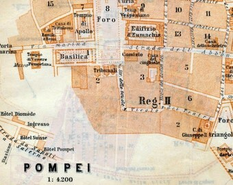 1912 Vintage Map of Pompeii, Italy - Vintage City Map - Old City Map