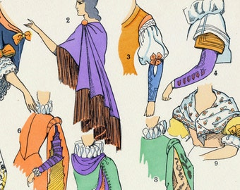 1925 French Art Deco Hand Coloured Pochoir Print on Women's Fashions in Spain and Italy. Plate 6