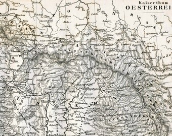 1860 German Vintage Map of the Austrian Empire - Historical Map - Black and White