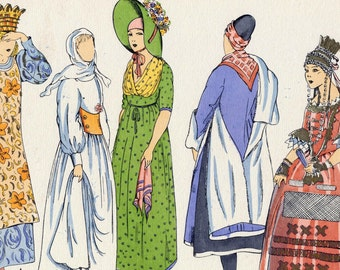 1925 French Art Deco Hand Coloured Pochoir Print on Women's Fashions in Scandinavia. Plate 1