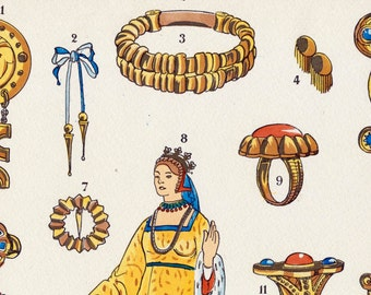 1925 French Art Deco Hand Coloured Pochoir Print on Women's Jewelry Fashions in Scandinavia. Plate 10