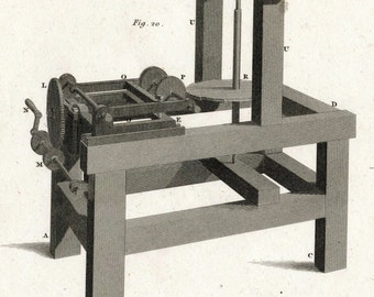 1812 Rare Antique Copper-engraved Plate showing a Dividing and Cutting Engine. Plate 6
