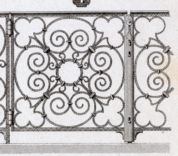 1880 French Antique Engraving of Decorative and Architectural Metalwork. Cast-iron Elements of a Communion Grating. Plate 7