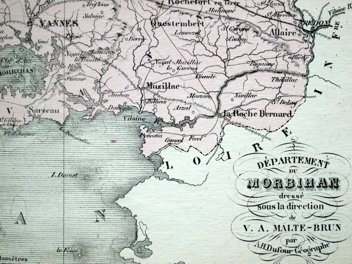 1800s Antique Map of Morbihan France Inset of Vannes