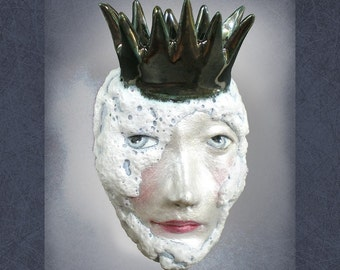 White Queen - Mask Sculpture, Ceramic Face Pendant, Art to Wear