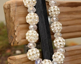 Chunky western cowgirl necklace in silver crystals