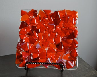 Scrap Glass in Red Fused Glass Plate
