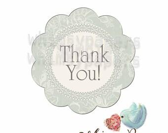 "Elegant Damask ""Thank You"" Stickers, set of 50"