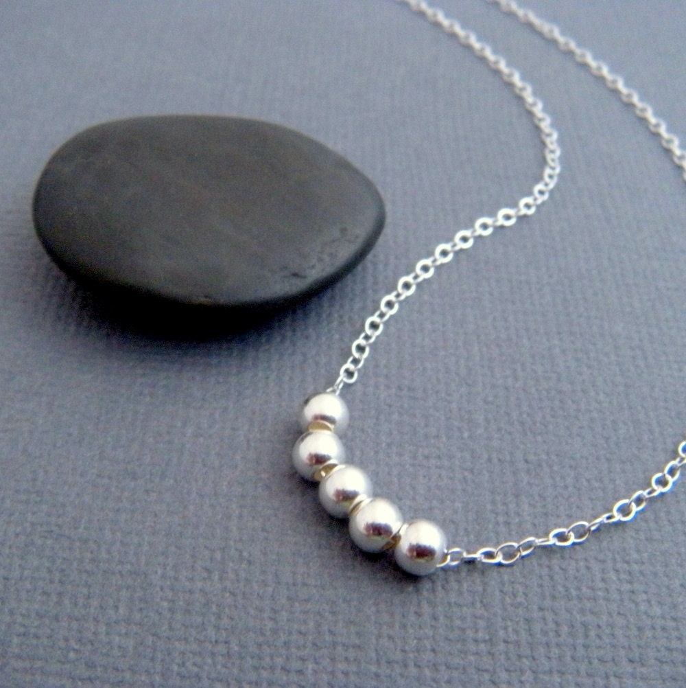 simple silver necklace. sterling round bead. dainty. delicate.